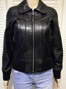 RED COYOTE Giacca Donna VERA PELLE Nera Giubbotto Biker Jacket Rock Chic S UK 8